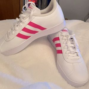 Adidas pink & white shoes